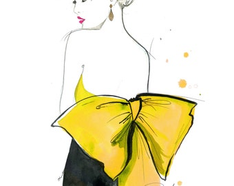 Yellow Bowed Girl, print from original watercolor and pen fashion illustration by Jessica Durrant