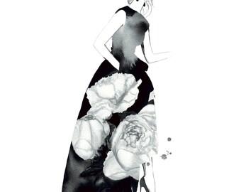 Black & White Peony Gown