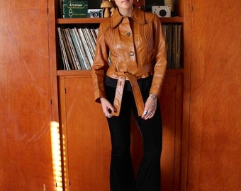 Vintage 70s UPCYCLED Brown LEATHER Rocker JACKET Xs