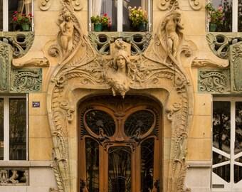 Paris Door Photo France Print Paris Decor Art Nouveau Beige Apartment Photograph Home Decor neutral colors par135
