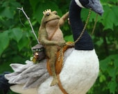 Needle Felted One of a kind Toad and Canada Goose Soft Sculpture by Bella McBride