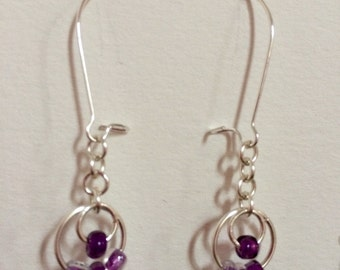 Chainmaille Silver-tone Drop Earrings with a Purple Beaded Ring Detail