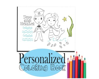 Kids Coloring Pages, Kids Printable, Personalized Wedding Activity book, Kids Wedding Favor, Printable Coloring book - Destination Wedding
