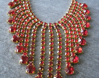 Red Rhinestone Necklace, Statement Necklace, Prom, Party, Great Gatsby, Rhinestone Bib, Waterfall, Vintage Collar, Bridal Choker, Deco