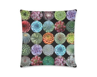 Photographic Succulents Throw Pillow Cover - photorealistic succulents and cacti - custom backgrounds - 2-sided printing - 3 sizes