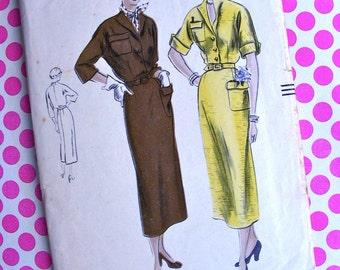 1940s  Vogue  Pattern 6814  -  FABULOUS Ladies'  Shirtwaist Dress  - Size 16 * Bust 34 * FACTORY FOLDED