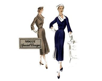 1950s Vogue Dress Pattern Front Godet Diagonal Front Seams Asymmetrical Collar Day Dress Vogue 7249 Bust 40 Vintage Sewing Pattern UNPRINTED