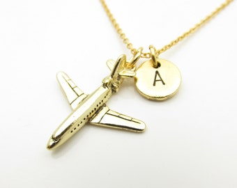Airplane Necklace, Jet Plane Necklace, Personalized, Initial Necklace, Antique Gold Airplane, Commercial Airplane Charm, Monogram Z313
