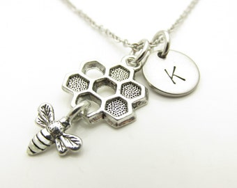 Beehive Necklace, Honey Bee Necklace, Beehive and Bee, Personalized Initial Necklace, Antique Silver Beehive, Beekeeper Charm, Monogram Y409