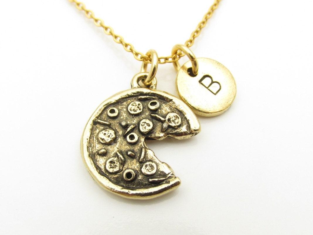 pizza necklace pizza pie charm antique gold pizza pendant