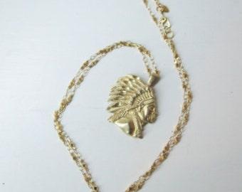 Native American Necklace Gold Tone Vintage Monet