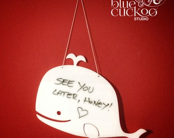 White board, message board, shaped, whale, custom made, home decor, kitchen