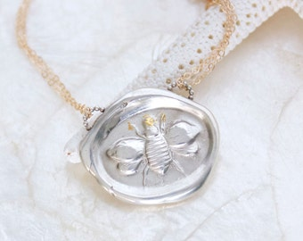 Blessed Bee Wax Seal Necklace of Handcrafted Fine and Sterling Silver and 14kt Yellow Gold Fill Inscribed Eco Friendly Silver Ready to Ship