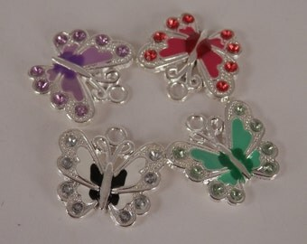 4 Butterfly Charms, Enamel and Crystals, Mixed Random Colors