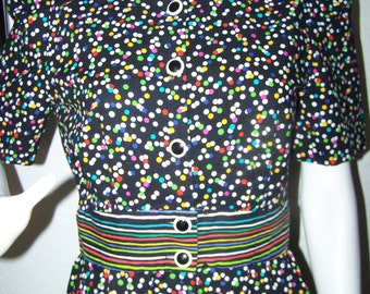Vintage 1980s Positive Attitude Colorful Polka Dot Dress Size 7/8 Petite Rainbow Funky Cool Stylish Fun Party Colorful Vibrant Office Cute