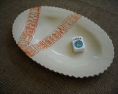 Oval Mahjong Dish in Cream with Orange - Mah jong Serving Plate - Oriental Serving Dish