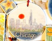 CHICAGO, ILLINOIS gift wrapped city landscape scene urban chic metro handmade one size fits all ceramic tile ornament by Faith Ann Originals