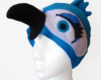Girl Blue Macaw Hat. Parrot. Four Sizes.