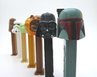 Vintage Star Wars PEZ Dispensers, Boba Fett, Ewok, Darth Vader, Yoda, Chewbacca, C-3PO, Stormtrooper, Set of 7 Collectible PEZ with Candy