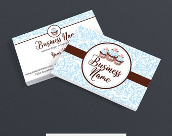 30% OFF SALE Business Card Designs - Bakery Business Card -  2 Sided Printable Business Card Design - Cupcake Delight 3