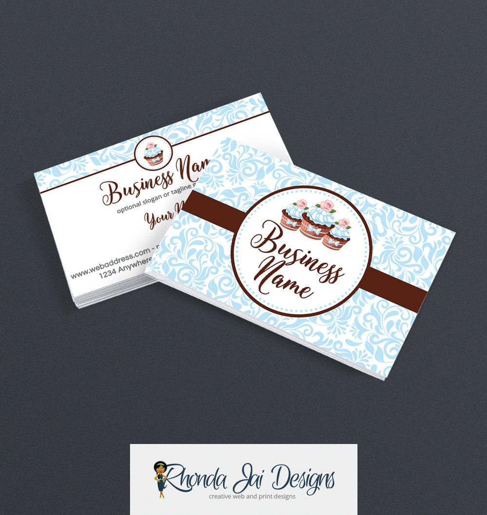Business card designs bakery business card 2 sided printable 2500 magicingreecefo Images