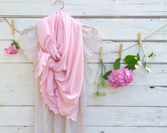 Light Pink Scarf with Ruffles, Pale Pink Scarf, Chunky Scarf, Long Scarf, Soft Pink Scarf, Wrap, Shawl, Oversized Scarf, Gift for Mom
