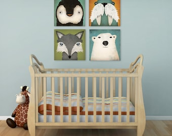 4 Native Vermont  Stretched Canvas Baby Nursery wall art signed READY-TO-HANG