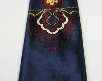 40s 50s Vintage Satin Neck Tie Dark Blue Red Gold Accents