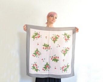 vintage Echo STRAWBERRY scarf . pastel pink gray silk . fruit print handkerchief .sale