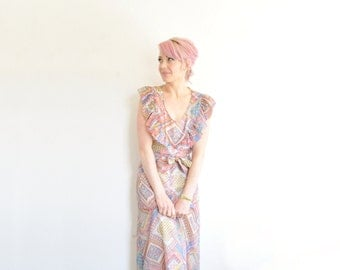 1970 ruffle maxi folk dress . colorful faux patchwork dress .small.medium .sale