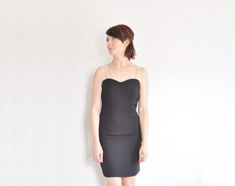 sheer illusion little black dress . sweetheart bodice cocktail mini .extra small.xs .sale