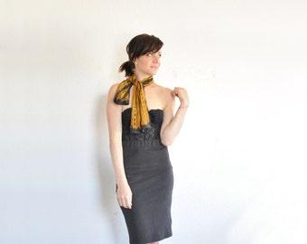 abstract Vera Neumann scarf . beetle black orange print neck tie kerchief .sale s a l e