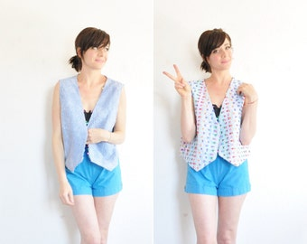 rainbow bow tie chambray vest . REVERSIBLE, Y'ALL . pride wear .medium.large .sale s a l e