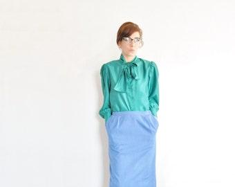 emerald green bow tie blouse . long sleeve secretary shirt .medium .sale s a l e