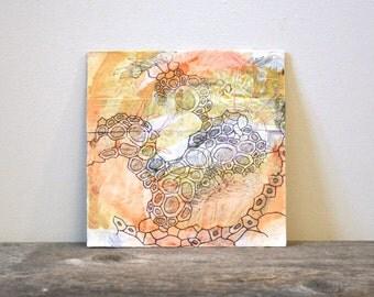 contemporary abstract art: el desierto. original mixed-media painting