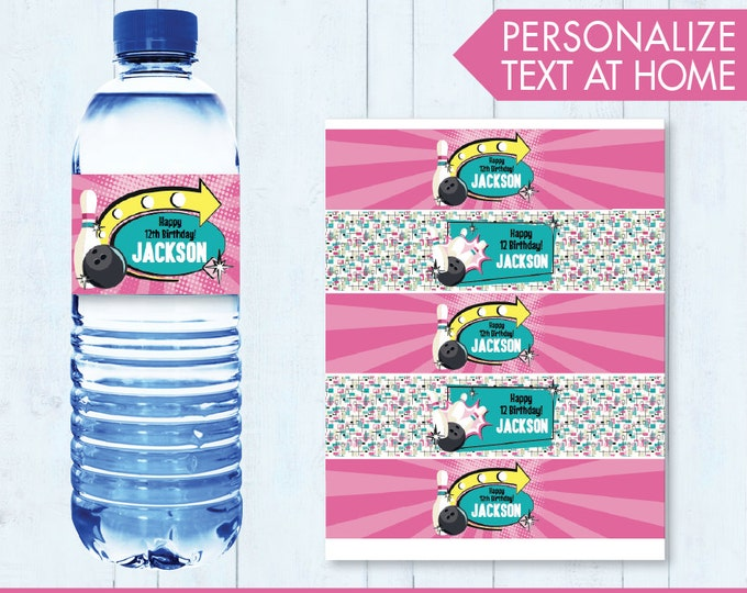 Bowling Party Water Labels or Wrappers - Bowling Bash, Bowling Birthday - Pink - INSTANT Download Printable PDFs