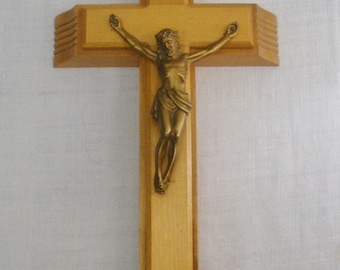 Vintage Wood Crucifix Box for Sick Bed or Last Rites