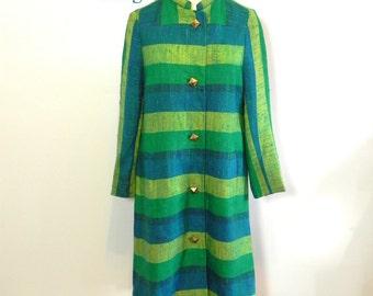Vintage 1960s Coat - MOD 60s Stripe All Weather Rain Coat M - on sale