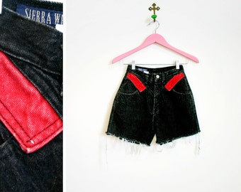 Vintage 1980s-90 Black and Red High Waisted Cut Off's Size 3