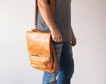 Crossbody mens backpack brown leather,work bag,laptop bag,messenger mens bag,over the shoulder bag,back bag-The Talos Bag
