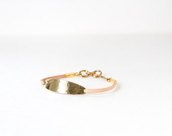 Aura Bracelet - textured brass and leather