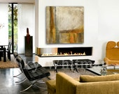 Original Large Painting 36 x 36 Modern Amber Tan Contemporary Art Square Abstract Handmade Wall Art Oil Painting by Sky Whitman