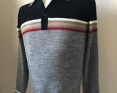 Vintage Men's 70's Sweater, Black, Grey, Striped, Pull Over by Montgomery Ward (M)