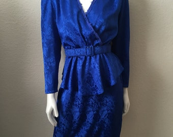 Vintage Women's 80's Peplum Dress, Royal Blue, Long Sleeve by Patra (S/M)