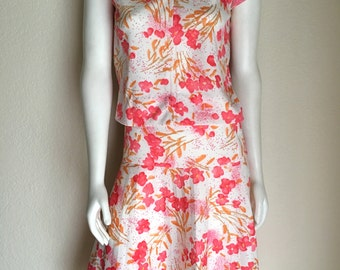 Vintage Women's 70's Top, Pleated Skirt, Set, White, Pink, Floral, Polyester (S/M)