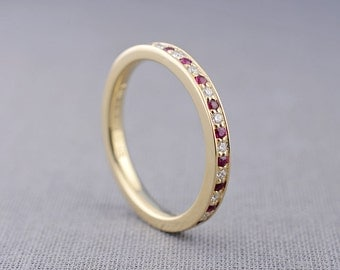 Pavé Ruby and Diamond Ring | 14K Gold Half Eternity Band | pave diamond and ruby band made with recycled 14K gold