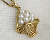 14k 10k Necklace Choker Basket of Pearls 16 inch Box Chain Vintage Fine Jewelry