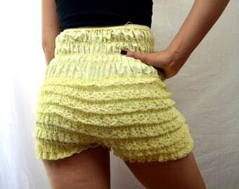 Vintage Yellow Pastel Ruffled Rockabilly Bloomers - Malco Modes