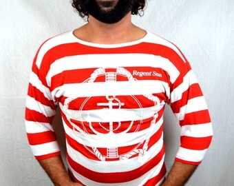Vintage 90s Nautical Striped Anchor Tshirt Tee Shirt - Peanuts