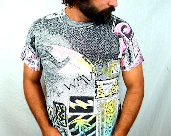 Vintage 80s All-Over-Print Neon Surfer BeachTshirt Tee Shirt